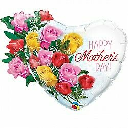 """Qualatex Happy Mothers Day Rose Bouquet 35"""" Foil Balloon"""