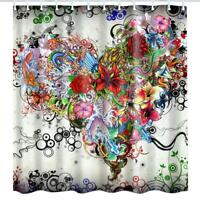 Waterproof Polyester 3D Print Floral Shower Curtain Bath Curtain Bathroom Decor