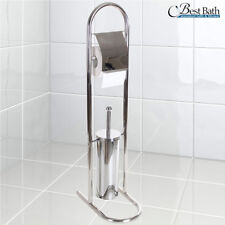 Portarotolo Con Scopino e Porta Scopino In Acciaio Accessori Per Bagno WC 80 cm