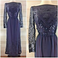 Vintage 60s Bergdorf Goodman sequined formal party dress long blue sheer XS S