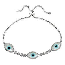 Sterling Silver CZ & Mother of Pearl Triple Evil Eye Adjustable Bracelet
