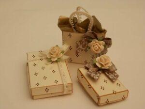 Dolls house : 1/12th Handmade three shabby chic cream gift boxes-By Fran