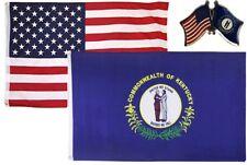 Wholesale Combo Usa & State of Kentucky 3x5 3'x5' Flag & Friendship Lapel Pin