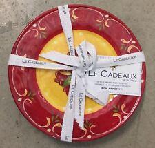 Le Cadeaux Corvo Red Yellow Appetizer  Plates MELAMINE Set Of 4 Spanish Style