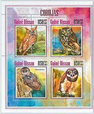 GUINEA BISSAU - ERROR, 2013 MISSPERF SHEET: OWLS, BIRDS, FAUNA, ANIMALS