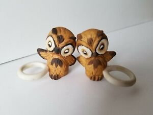 PAIR Vintage 60's/70's OWL CANDLE HUGGERS/Climbers Ceramic Bisque BOHO/Jungalow