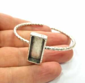 Hammered Silver Bracelet Blanks Cuff Adjustable Antique Silver Brass G16023