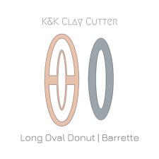 Oval Long Barrette Donut Clay Cutter 4 • Hair Crocodile / Alligator Clip