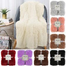 Cozy Soft Faux Fur Throw Blanket Home Plush Fleece Warm Shaggy Sherpa Cover Gift