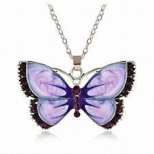 Women's Retro Fashion Crystal Purple Butterfly Pendant Necklace Vintage Jewelry