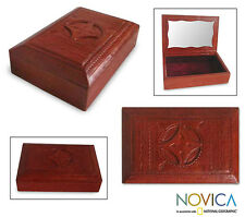 African Jewelry Box Brown Tooled Leather Wood 'African Shield' NOVICA Ghana