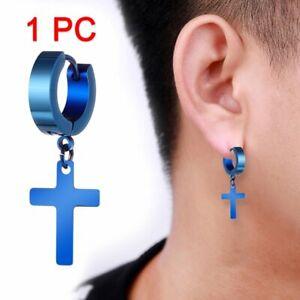1PC Gothic Punk Stainless Steel Cross Skull Earrings Ear Stud Men Women Jewelry