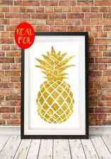 GOLD FOIL PRINT Pineapple Print, Real Foil, A4 Print, Metallic Gold Print