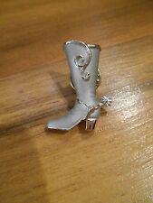 Western Cowboy Cowgirl High Heel Boot w/ Spurs Silvertone Pin Lapel about 1 1/4""