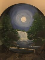 Hand painted 10 inch decorative waterfall glass plate by artist Karen Terry