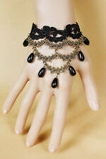 Floral Black Lace Pearl Style Bracelet Women's Ladies Fashion Costume Jewellery