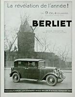 PUBLICITÉ DE PRESSE 1931 AUTOMOBILES BERLIET LA 9 CV 4 CYLINDRES 8 CV EXPOSITION