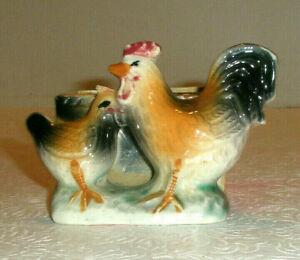 Vintage Hand Painted Ceramic Chicken Planter Hen Rooster