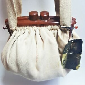 "1940s-50s Original ""CURTAIN ROD BAG"" Linen & Bakelite Purse Vintage New -Tag"