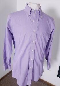 BROOKS BROTHERS 346 SLIM FIT Purple Mini Check Men's Dress Shirt Size 15 1/2-2/3