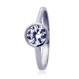 Women's Fine band 14K White Gold 1ct CZ Classic Bezel Solitaire Engagement Ring