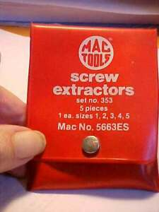 Mac Tools 5 Piece Screw Extractor Set 5435ES Free Shipping