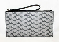 MICHAEL KORS 38S9YTTC3V Jet Set Lg Zip Clutch Bag Purse Wristlet Gray & Black