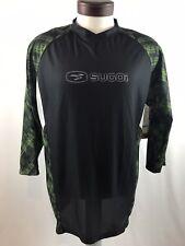 Sugoi Mens Gear West Bike and Triathlon 3/4 Sleeve Shirt Large Black Green NWT