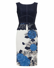 NEW Phase Eight Gretel Blue White Lace Scuba Occasion Pencil Dress Size 12 £130