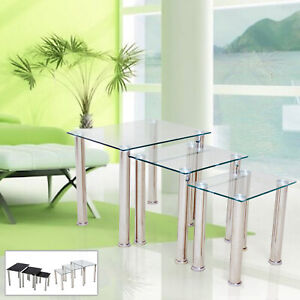 Glass Nest Of 3 Tables Legs High Gloss Square Top New By Home Discount