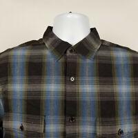 Carbon2Cobalt Mens Dark Brown Blue Gray Plaid Dress Button Shirt Size Large L