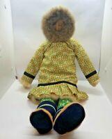 """Vintage Spence Bay Canada Inuit Eskimo Hand Made Cloth Doll Fur Trim 22"""" Rare"""