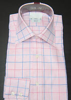 T M LEWIN SLIM FIT PINK CHECK SHIRT PURE COTTON COLLAR 14.5-19 BNWOT