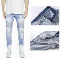 Men's Stylish Camo Pattern Pants Straight Fit Stitching Moto Biker Blue Jeans