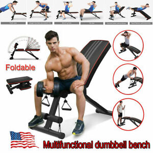 Foldable Dumbbell Bench Weight Training Gym Fitness Incline Adjustable Workout