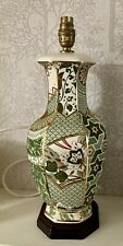More details for masons ironstone vintage green applique gilded hand painted lamp