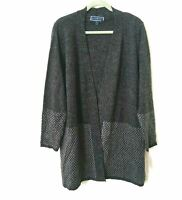 NEW Karen Scott Women's 1X Long Open Front Cardigan Sweater Duster Gray Grey