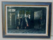 LOW LIGHT OIL PAINTING SIGNED GERARD A KNIPSCHER PEOPLE WAITING IN LINE BY DOOR