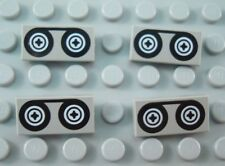 LEGO Lot of 4 Light Gray 1x2 Movie Video Tape Decorated Tiles