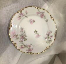 Vintage Haviland France Limoges China Dessert Plate Floral Gold Trim Pink Flower