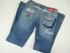 PEPE Jeans of London Ladies Embellished Denim Sz 29x31 Pink Embroidery