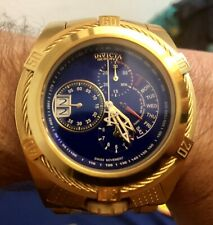 INVICTA 26389 BOLT ZEUS TRIA GOLD PLATED STEEL BLUE 3 TIME ZONES 56.3mm NewCond