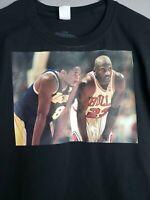 Kobe Bryant & Michael Jordan Custom T Shirt Black Mamba NBA Lakers small Black