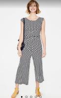 Boden Women's Cropped Jumpsuit Black & White Flower Print Wrap V- Neck NWT Sz 16