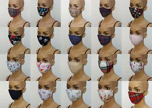 Handmade Triple 3 Layer Cotton Fabric Face Mask Reusable Washable Women Child UK
