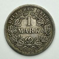 Dated : 1900 D - Silver Coin - Germany - 1 Mark - One Mark Coin - Wilhelm II