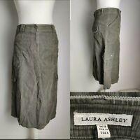 Laura Ashley Women's Skirt A line Cord Green High Waist Pockets Casual UK 10