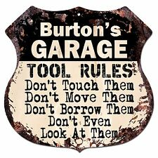 BPG0570 BURTON'S GARAGE TOOL RULES Shield Sign Man Cave Decor Funny Gift