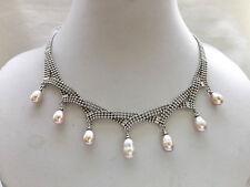 pink purple 7pcs pendant chain adjust necklace teardrop freshwater pearl USA EUB