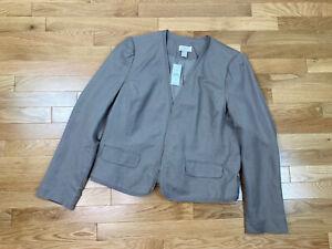 New Ann Taylor LOFT Factory Open Linen Blazer Womens 14 Beige Career Tailored